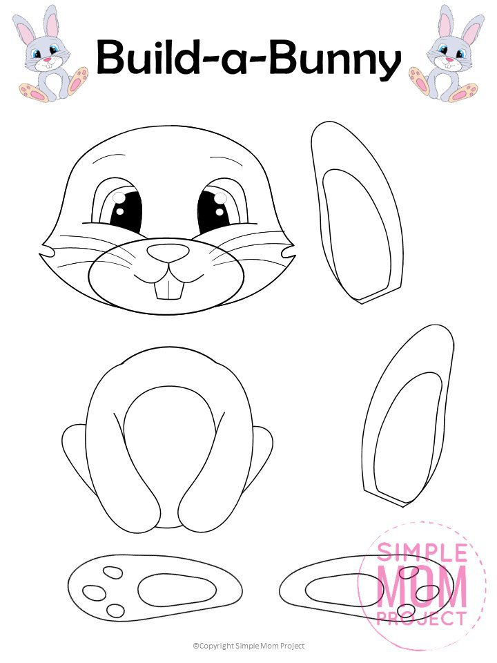 Free Cut and Paste Bunny Rabbit Craft - Simple Mom Project