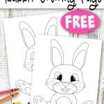 These cute and free printable spring bunny rabbit coloring pages are great for kids of all ages; including preschoolers, toddlers and big kids - adults! Use them in your family worship or have fun coloring him on a rainy spring day! #BunnyColoringSheet #SimpleMomProject