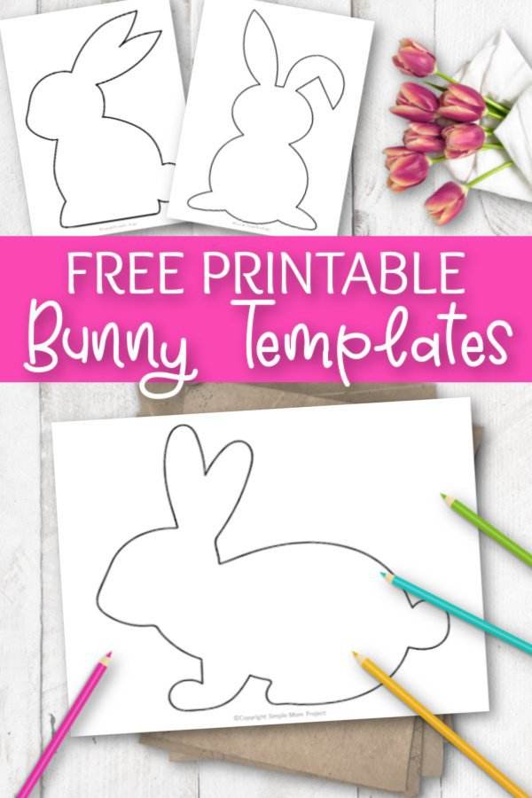 Use these free printable bunny template silhouettes in any of your spring crafts. They are great stencils for decorating an paper garden or a simple bunny coloring page! #BunnyTemplate #SimpleMomProject