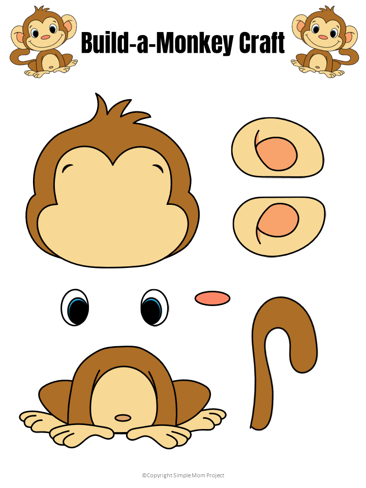 Free Printable Build a Monkey Craft Template for Kids preschoolers and toddlers