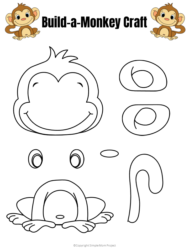 Free Printable Black and white Build a Monkey Craft Template for Kids preschoolers and toddlers