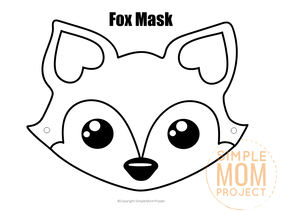 Fox Face Mask Black and White watermark