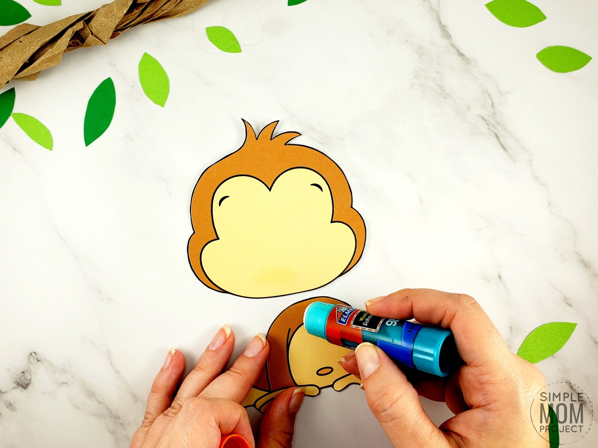 Free Printable Build a monkey craft for kids, preschoolers and toddlers 1