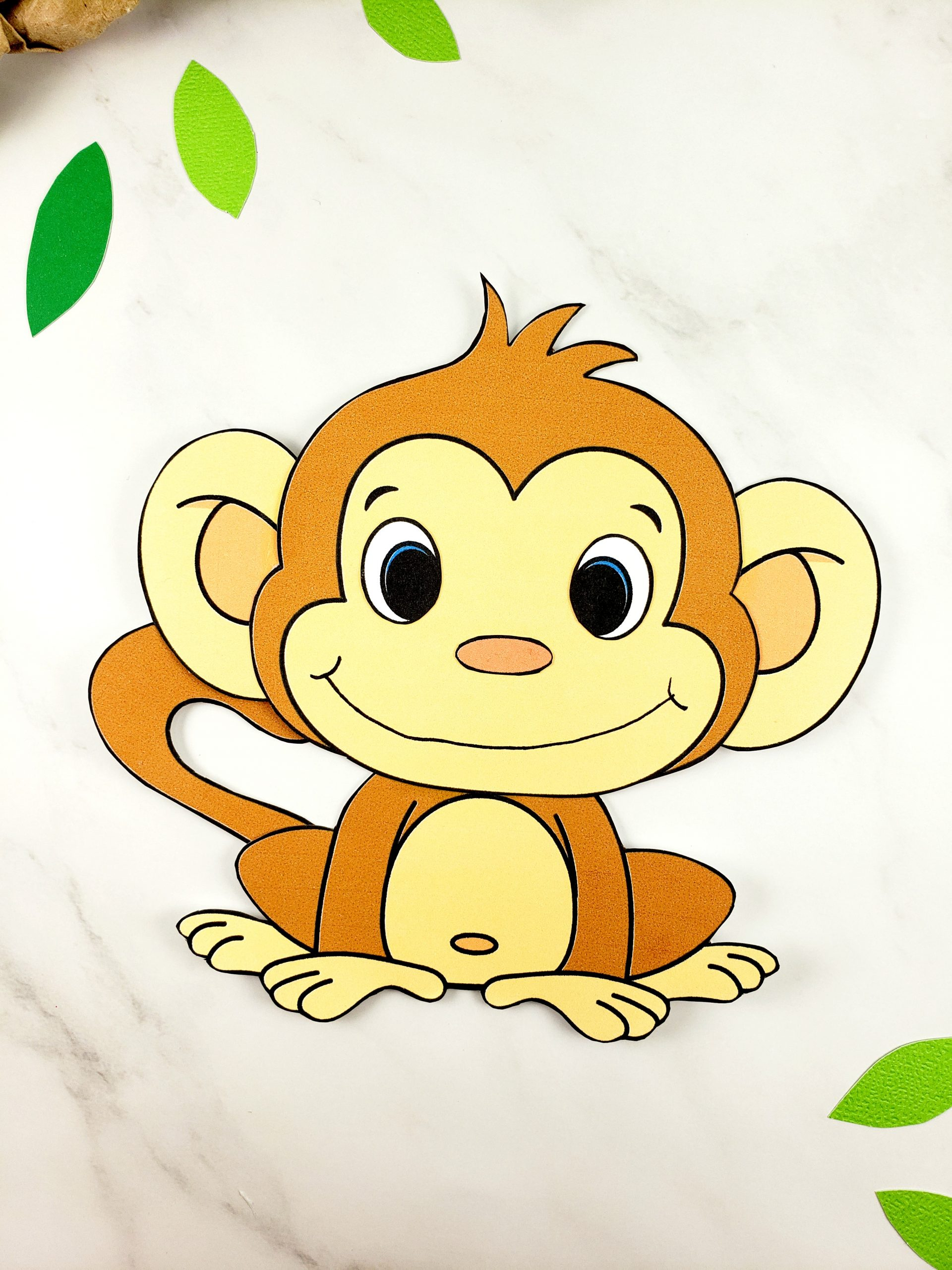 Free Printable Build a monkey craft for kids, preschoolers and toddlers