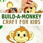 Click and print to make this super cute and easy baby monkey craft! He comes with two free printable monkey templates and is perfect for kids of all ages; including preschoolers, kindergartners and toddlers. Use him for a class project, an activity before a trip to the zoo or in your homeschool jungle unit! #monkeycrafts #papermonkeycraft #printablemonkeycraft #SimpleMomProject