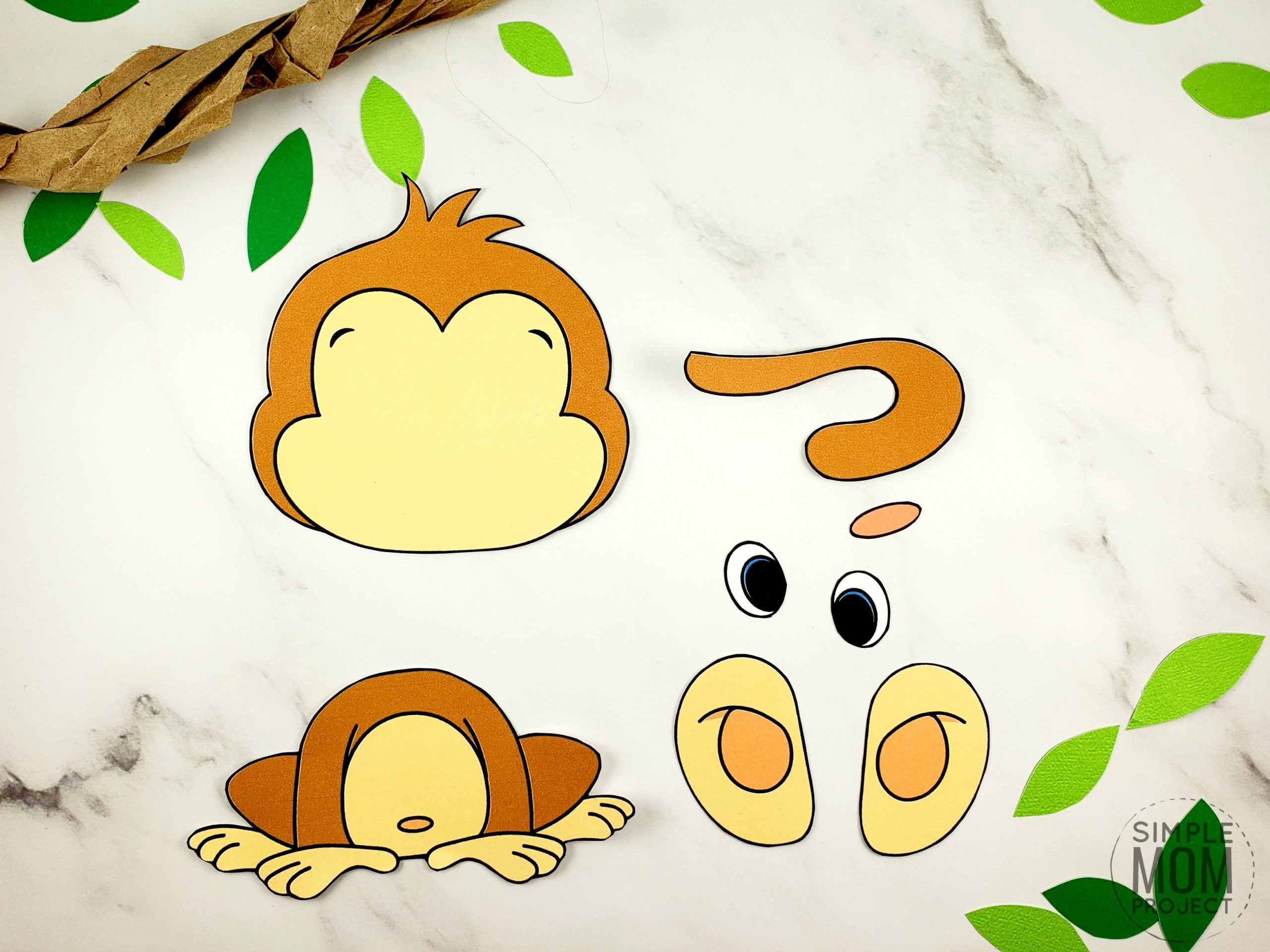Free Printable Build a monkey craft for kids, preschoolers and toddlers 9