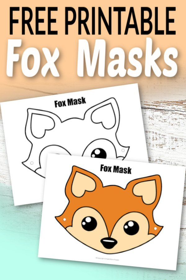 Free Printable Fox Face Mask for Kids, preschoolers and toddlers 1