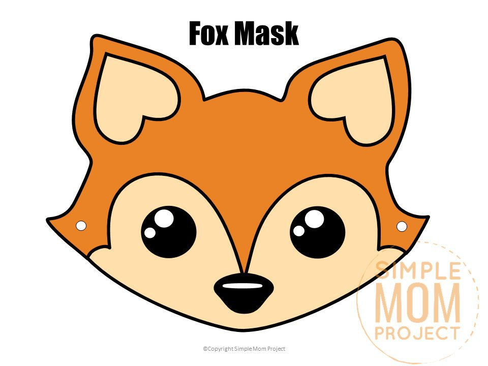 Free Printable Fox Face Mask for Kids, preschoolers and toddlers watermark 3