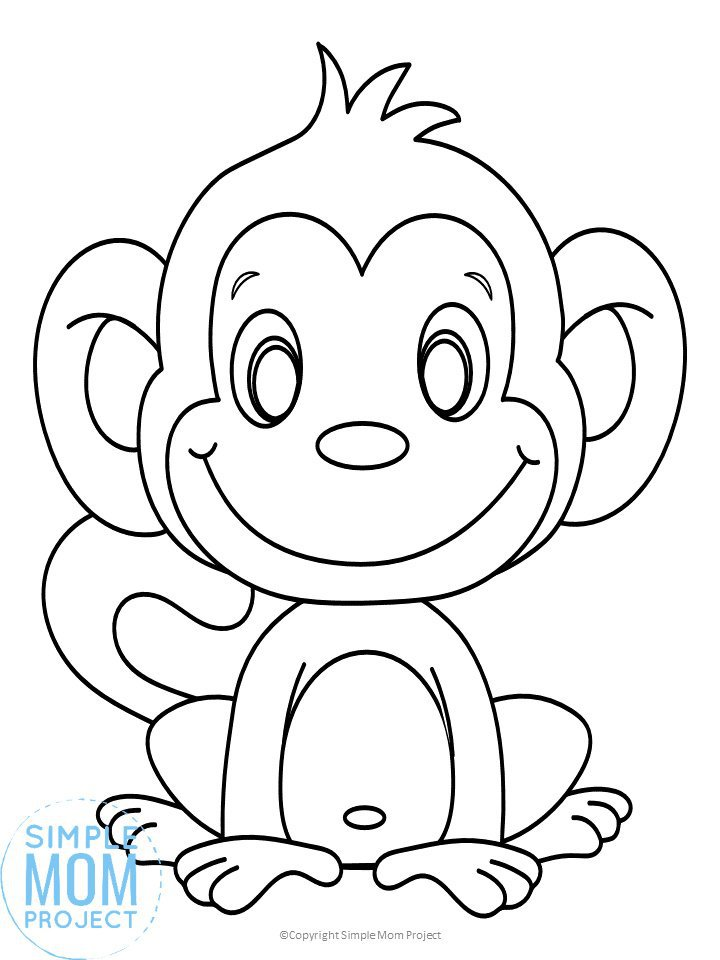Free Printable Jungle or zoo monkey coloring page coloring sheet for kids, preschoolers and toddlers