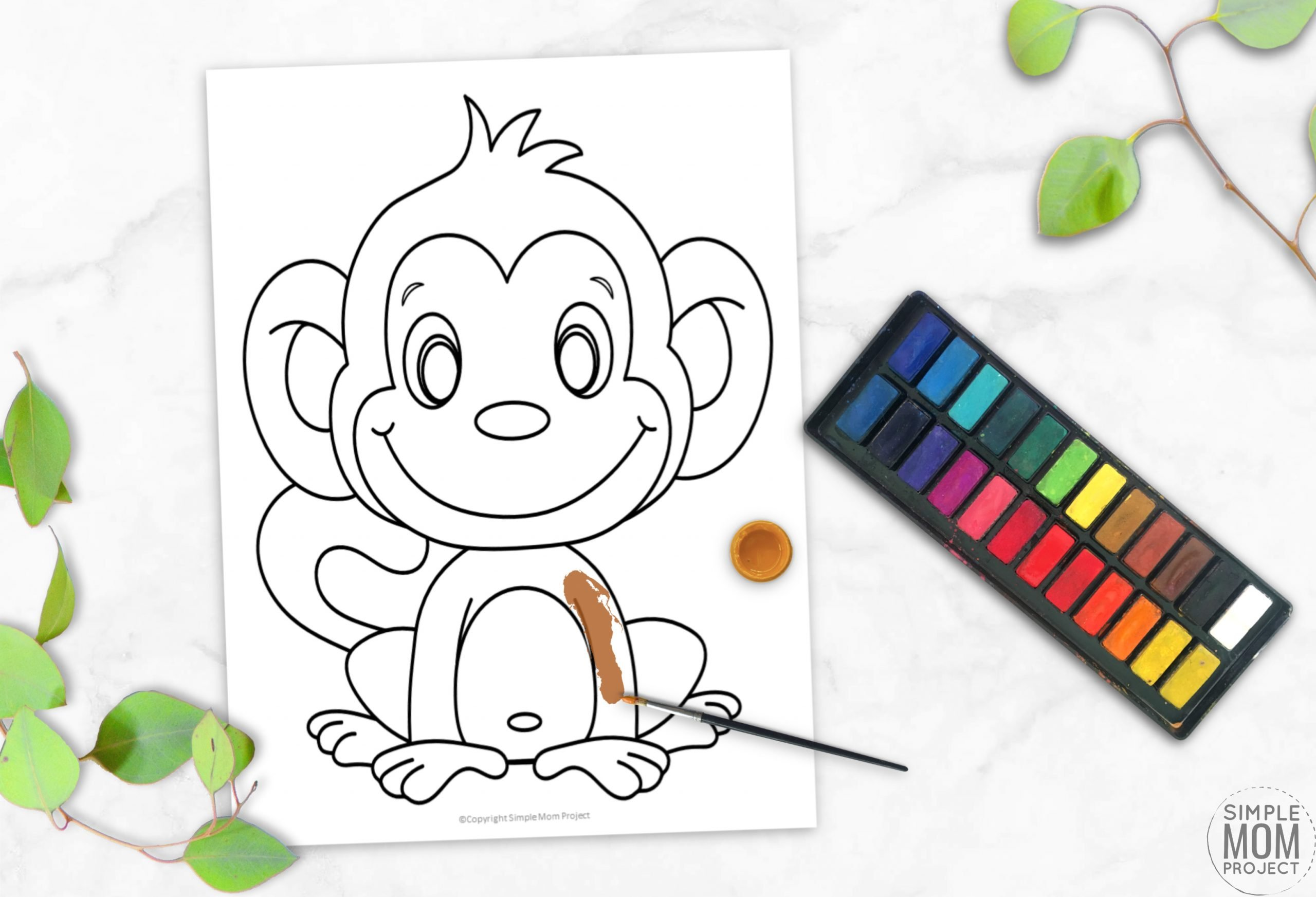 Free Printable Monkey Coloring Page, Coloring sheet for kids, preschoolers and toddlers 3