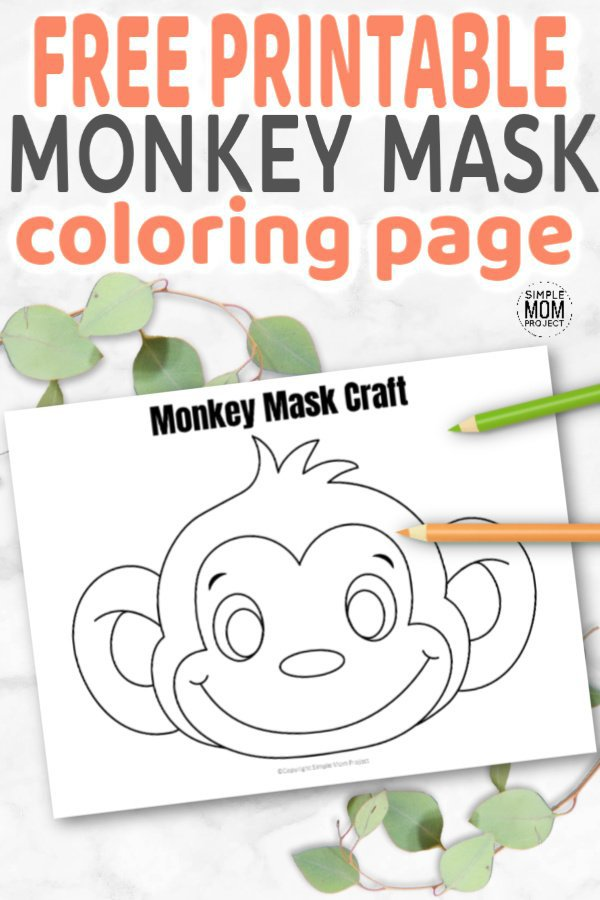 Free Printable Monkey Mask for Kids, preschoolers and toddlers Pin