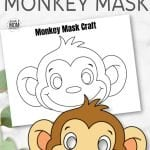 No need for paper plates. Just click and print these cute baby monkey mask templates! There's two versions. One in full color and a monkey mask coloring page. These free printable monkey masks are perfect for Halloween or jungle playtime with your preschool, kindergarten or elementary age kids! #MonkeyMask #MonkeyMaskTemplate #MonkeyMaskColoring #SimpleMomProject