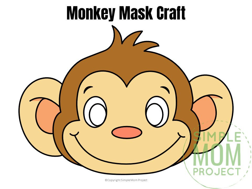 Free Printable Monkey Mask for Kids, preschoolers and toddlers colored