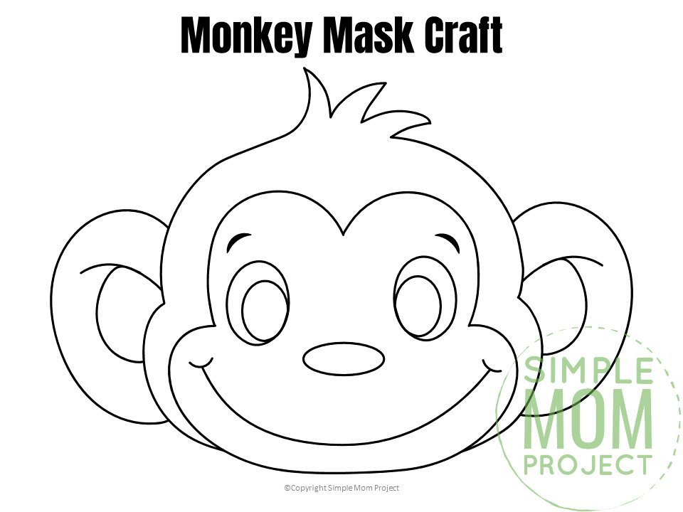 Free Printable Monkey Mask for Kids, preschoolers and toddlers