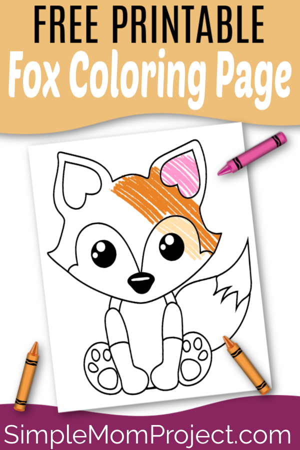 For kids and adults, this free printable fox color page is easy and fun! Use him as an outline fox template to go along with a woodland theme garland or use the fox design to start a personal coloring book! #FoxCrafts #FoxTemplate #FoxColoring #FoxColoringSheet