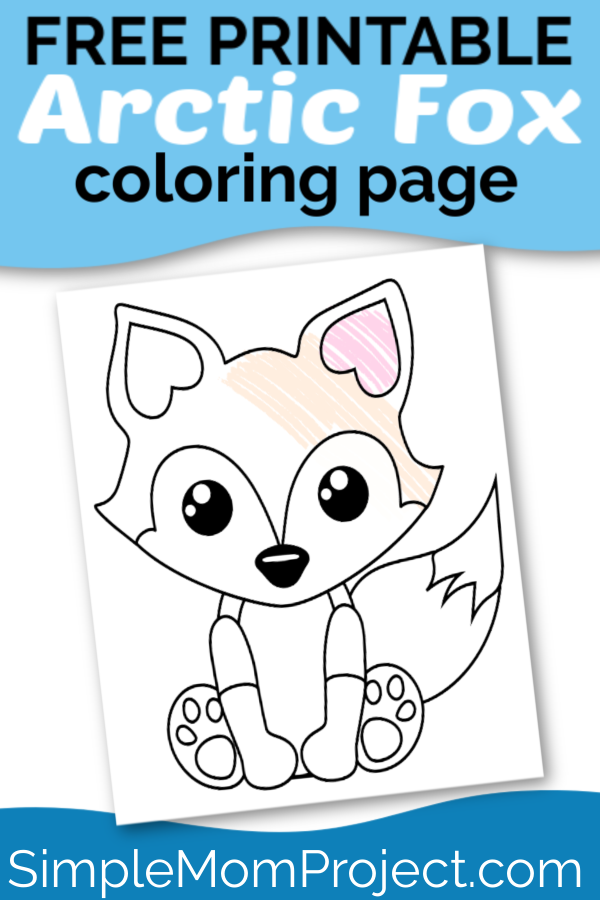 Free Printable woodland arctic and baby fox coloring page for kids 1