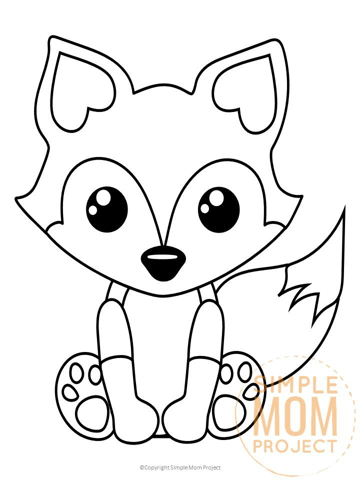 Free Printable woodland arctic and baby fox coloring page for kids watermark