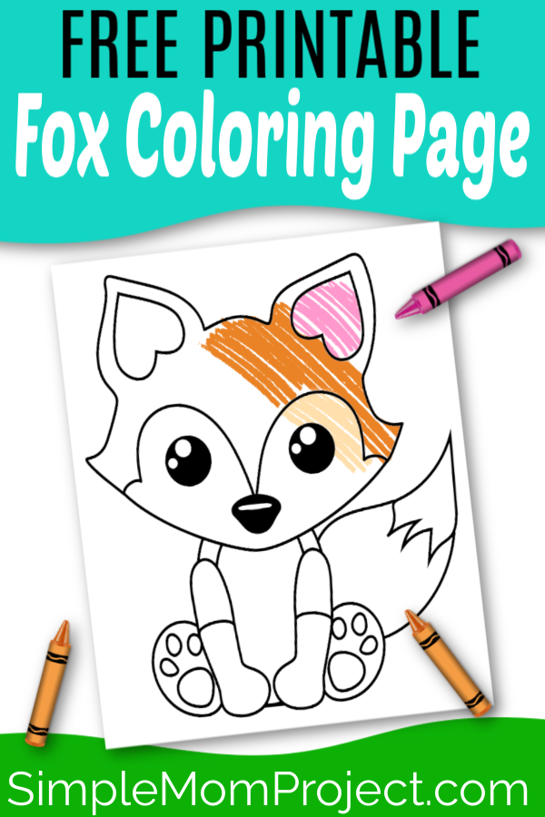 Free Printable woodland arctic and baby fox coloring page for kids