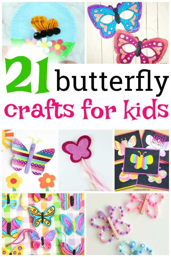 These easy butterfly crafts are perfect for kids of all ages including preschoolers and toddlers. Use these as a fun way to teach the cycle of a butterfly or just a fun art project to do this spring. #butterflycrafts #springcrafts #summercrafts #simplemomproject