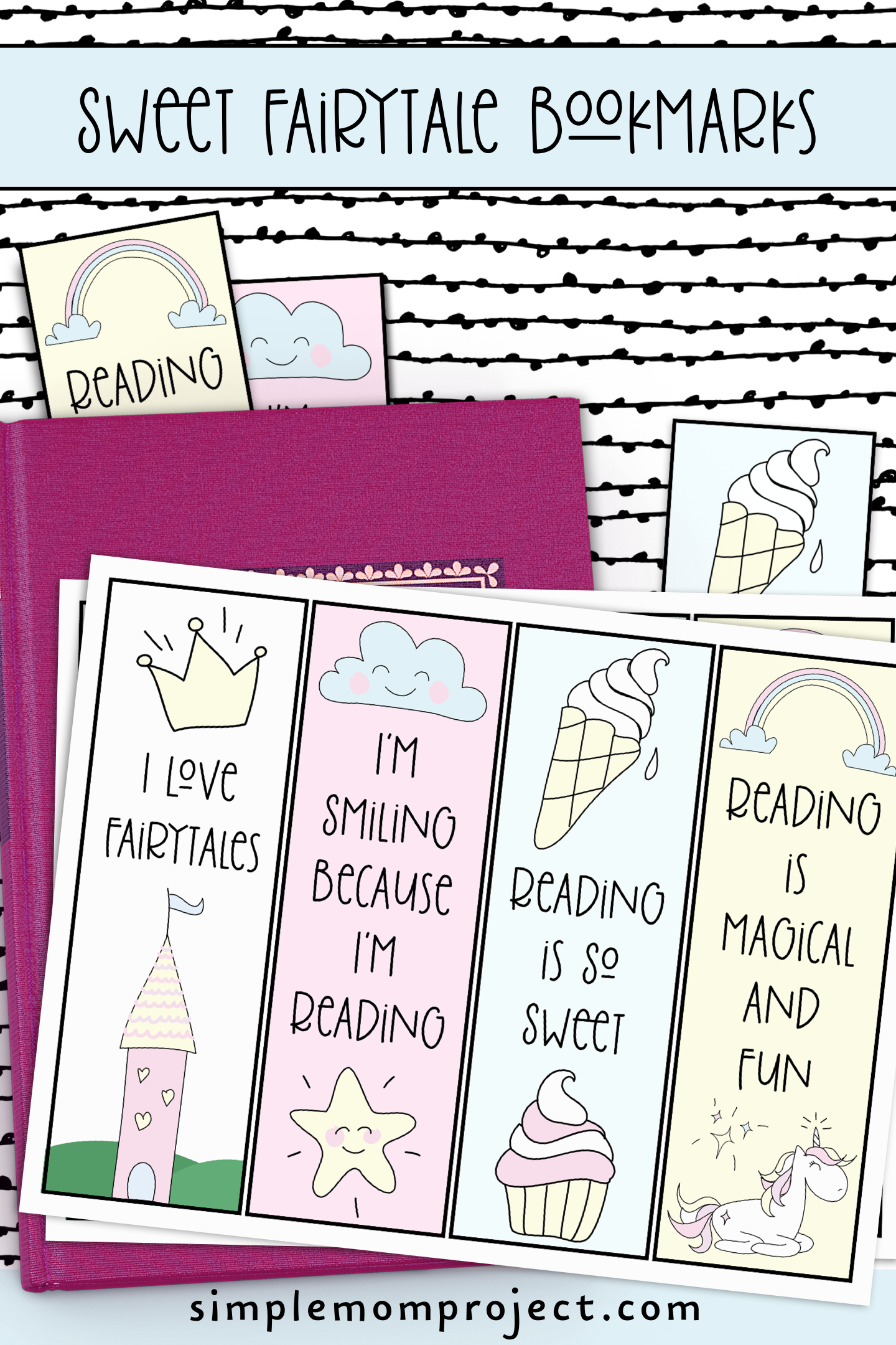 ree Printable Unicorn and Princess Bookmarks for Kids Pin