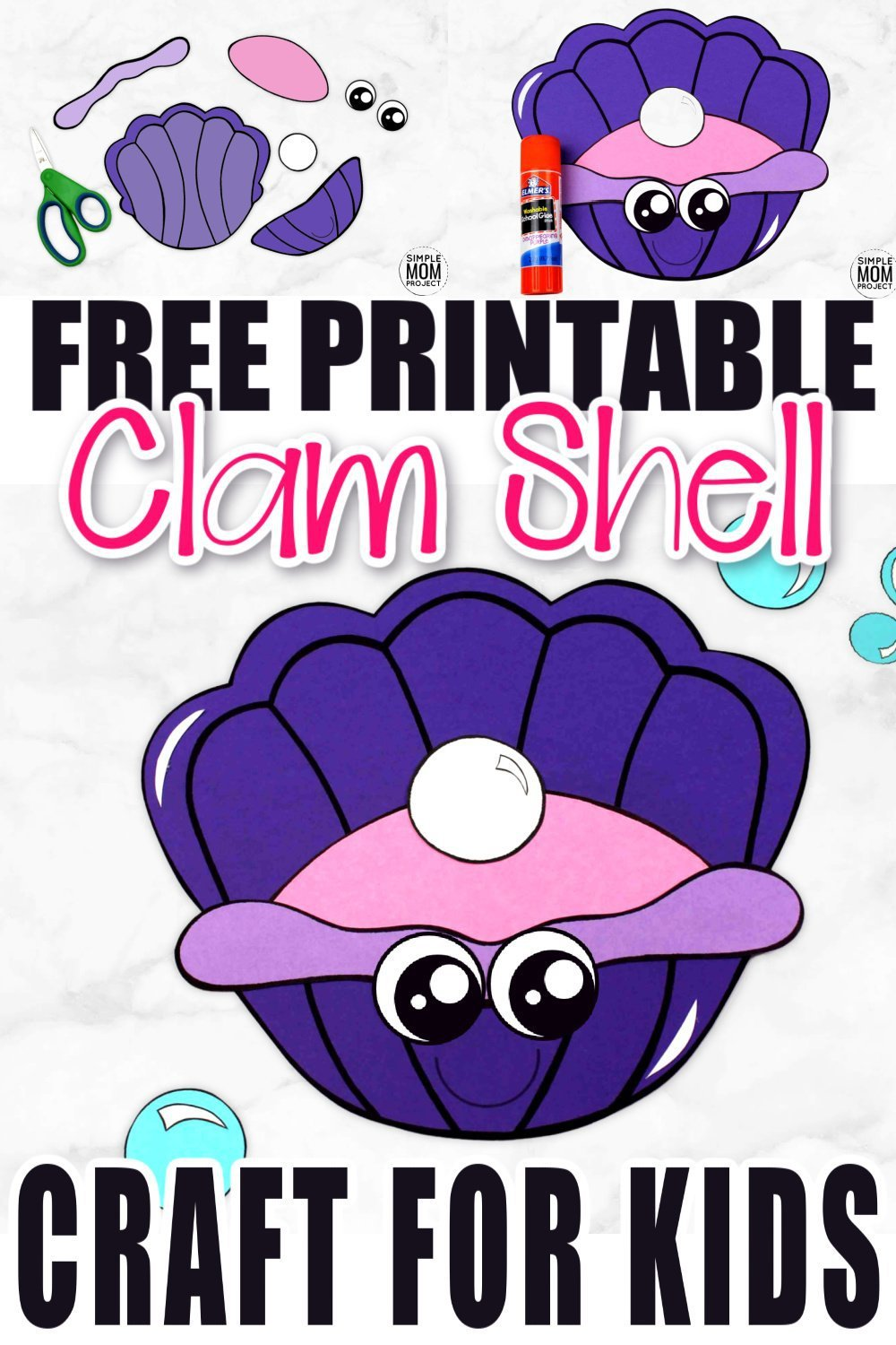 Whether you are taking a trip to the beach or learning about seashells, this adorable clam shell, free printable craft is for you! Use the clam template during summer vacation, at home, or in the classroom during your under the sea unit or ocean theme! #clamcrafts #clamshellcrafts #oceananimalcrafts #oceananimals