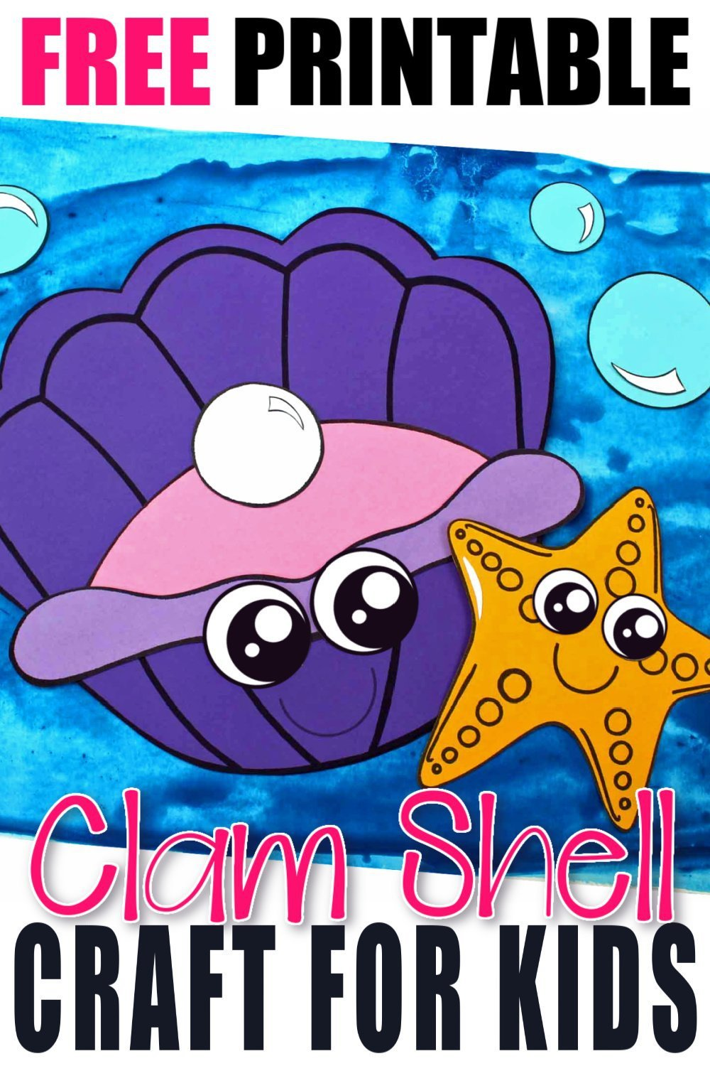 Whether you are taking a trip to the beach or learning about seashells, this adorable clam shell, free printable craft is for you! Use the clam template during a vacation road trip, at home, or in the classroom during your under the sea unit or ocean theme! #clamcrafts #clamshellcrafts #oceananimalcrafts #oceananimals