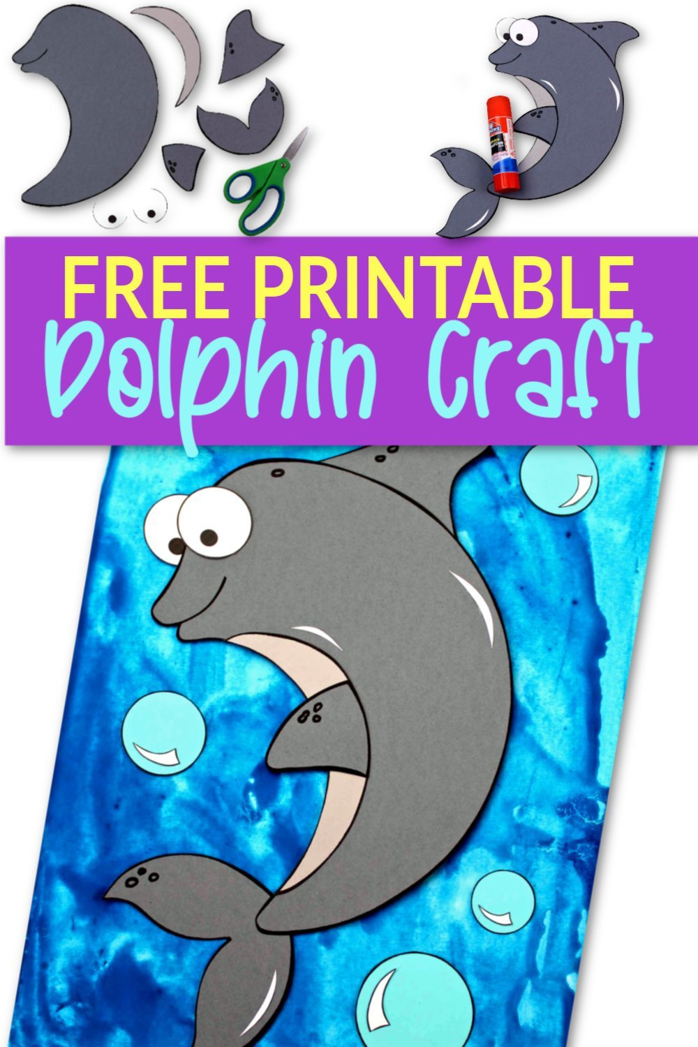 Free Printable Ocean Animal Dolphin Crafts for kids of all ages, including preschoolers and toddlers