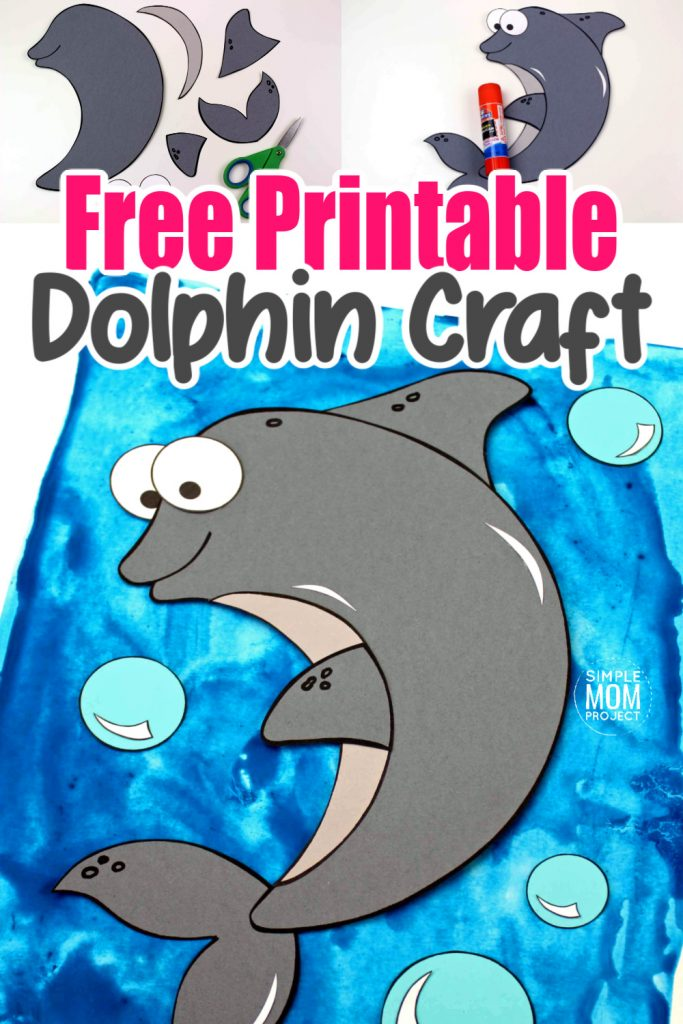 Looking for your next ocean theme project? Use our free printable dolphin template to make this adorable dolphin craft! Click and find the easy tutorial to make this fun ocean art project. Perfect for kids of all ages; including preschoolers and toddlers. #DolphinCrafts #OceanAnimals #OceanAnimalCrafts #SimpleMomProject