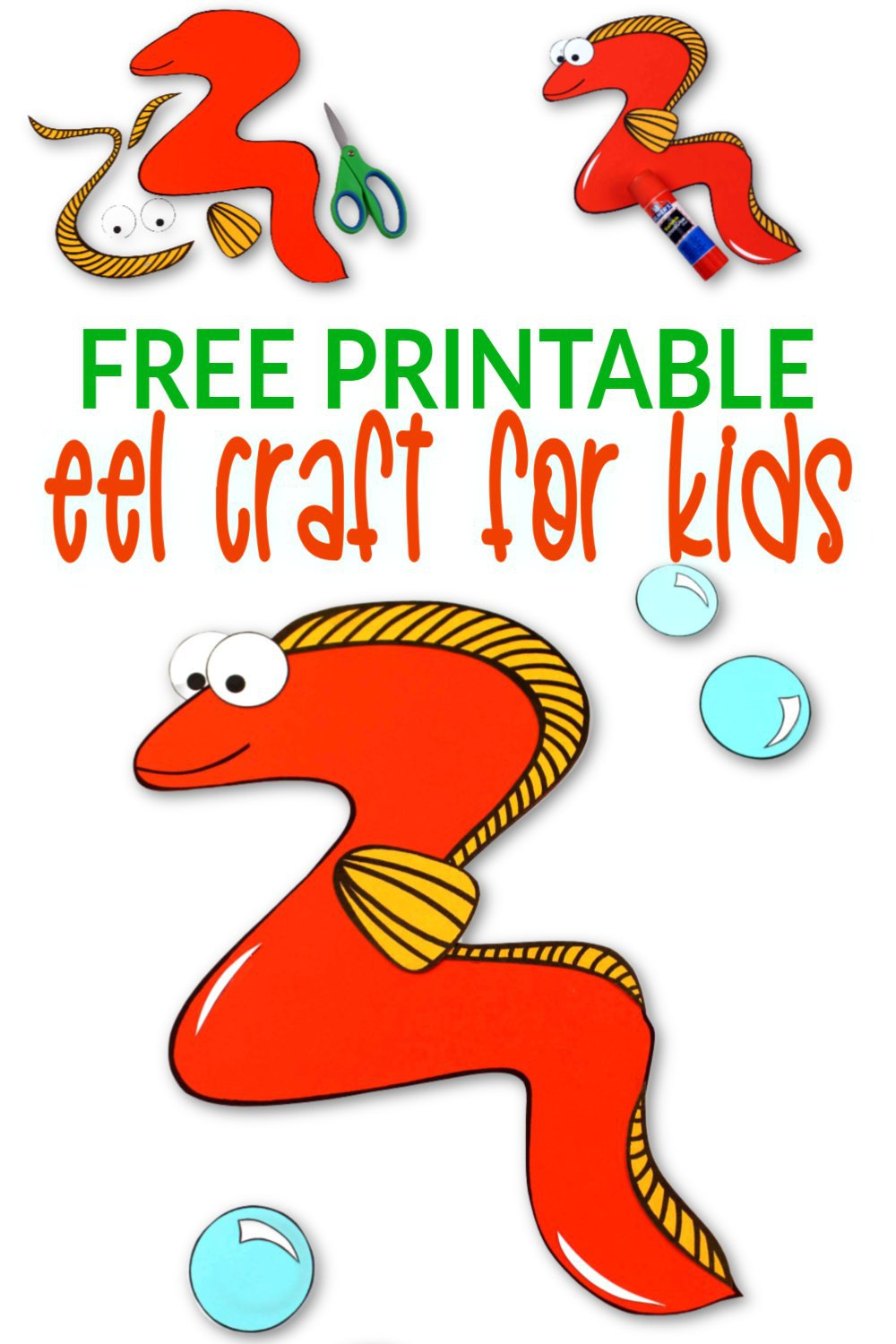 Free Printable Ocean Animal Eel Crafts for kids of all ages, including preschoolers and toddlers