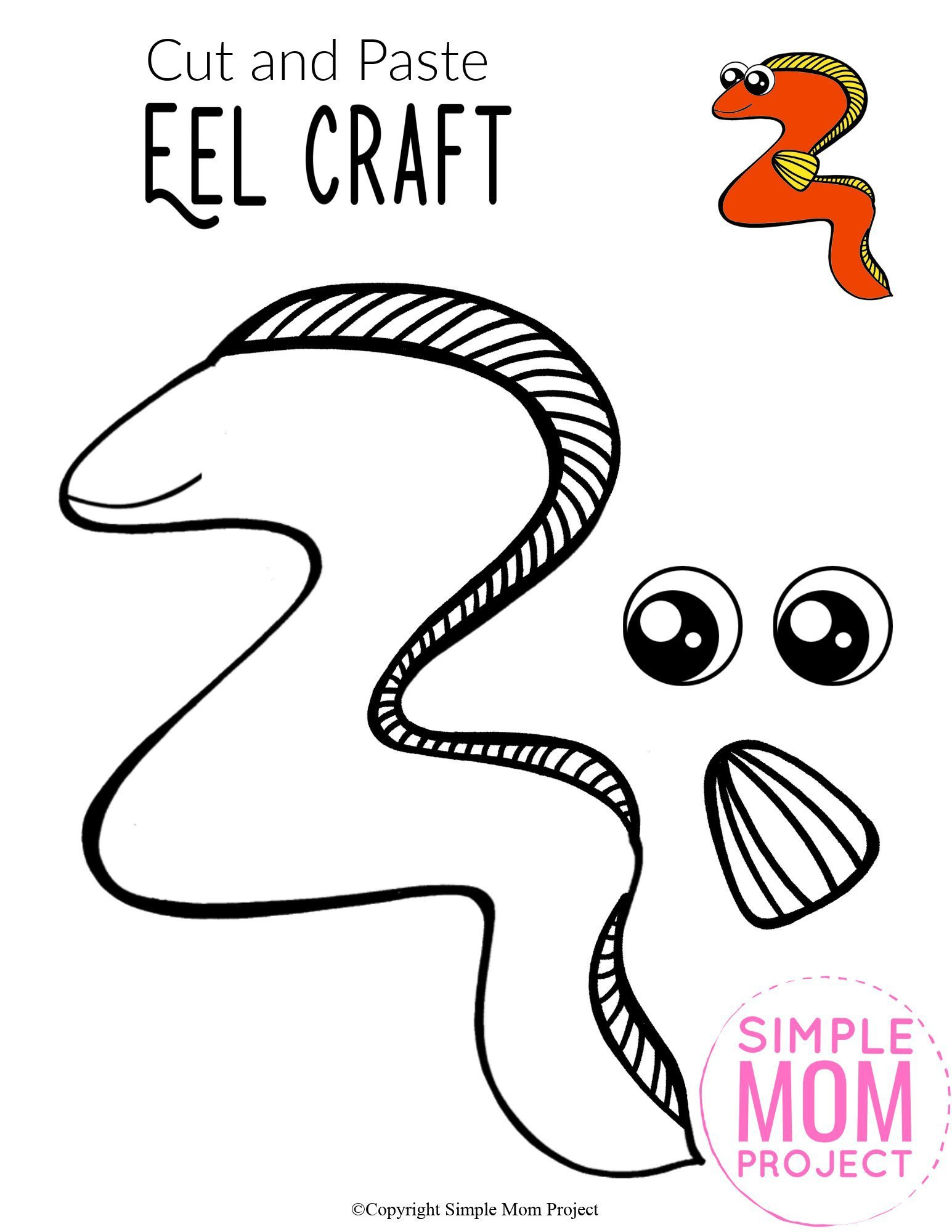 Free Printable Ocean Animal Eel Crafts for kids of all ages, including preschoolers and toddlers 5