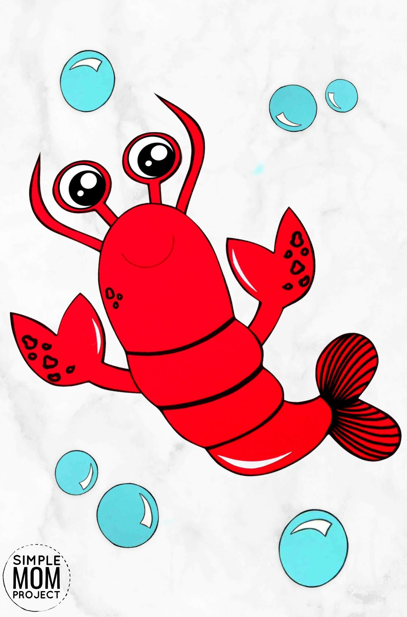 Free Printable Ocean Animal Lobster Crafts for kids of all ages, including preschoolers and toddlers