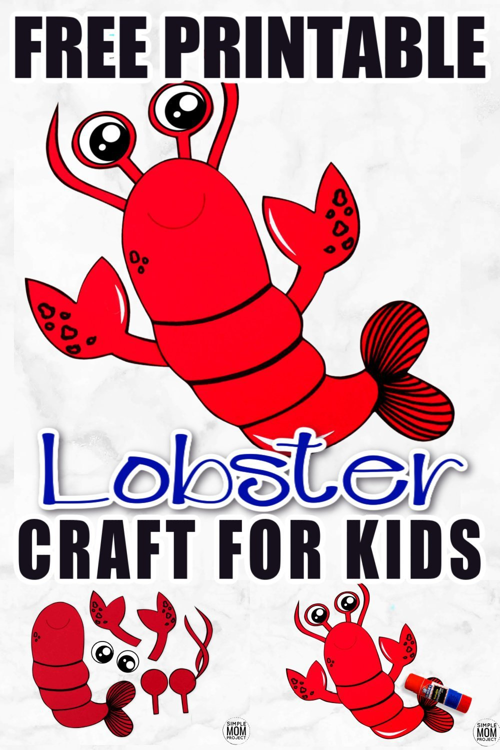Teaching the letter L or exploring the ocean with your toddler or preschooler? Use this free printable lobster template and build your own cut and paste lobster friend! He is the perfect, easy, under the sea art project to do this summer with your kids. #lobster #lobstercrafts #oceananimals #oceananimalcrafts #SimpleMomProject