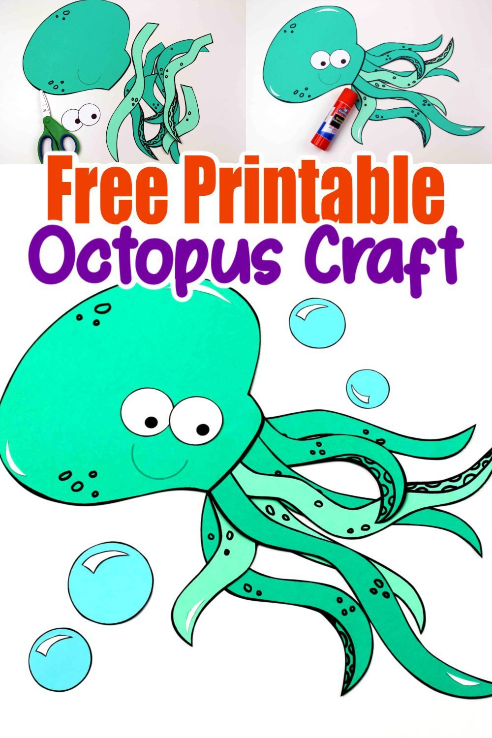 Free Printable Ocean Animal Octopus Crafts for kids of all ages, including preschoolers and toddlers