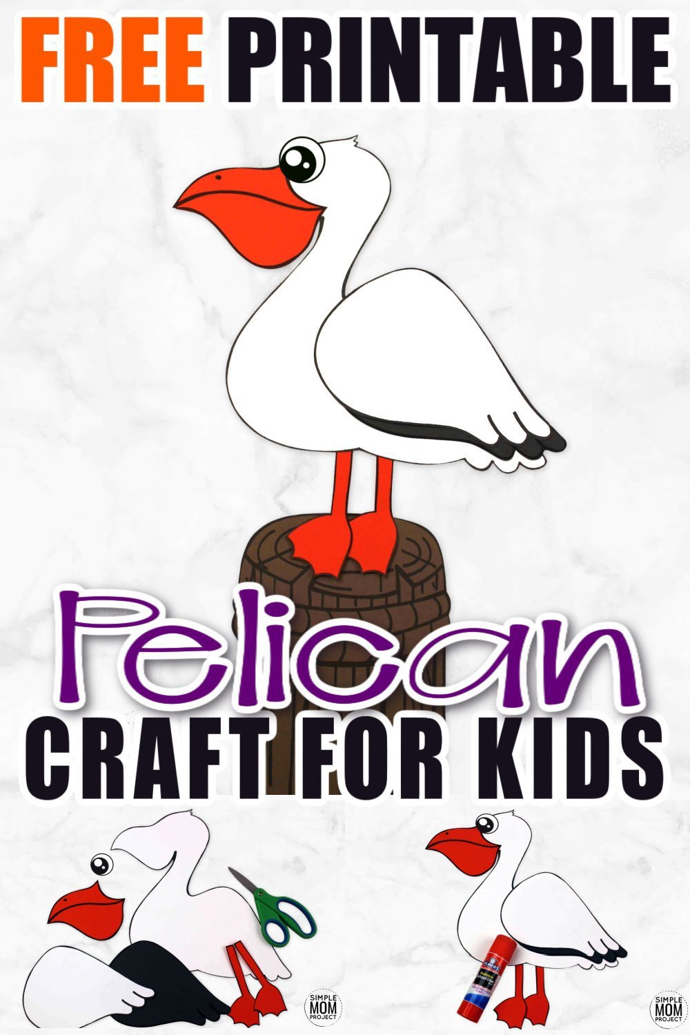 This easy and fun pelican craft is a perfect ocean theme paper art project for your preschool kids and toddlers. Use the free printable pelican template and make this adorable ocean animal now! #pelicancraft #oceananimals #oceananimalcrafts #SimpleMomProject