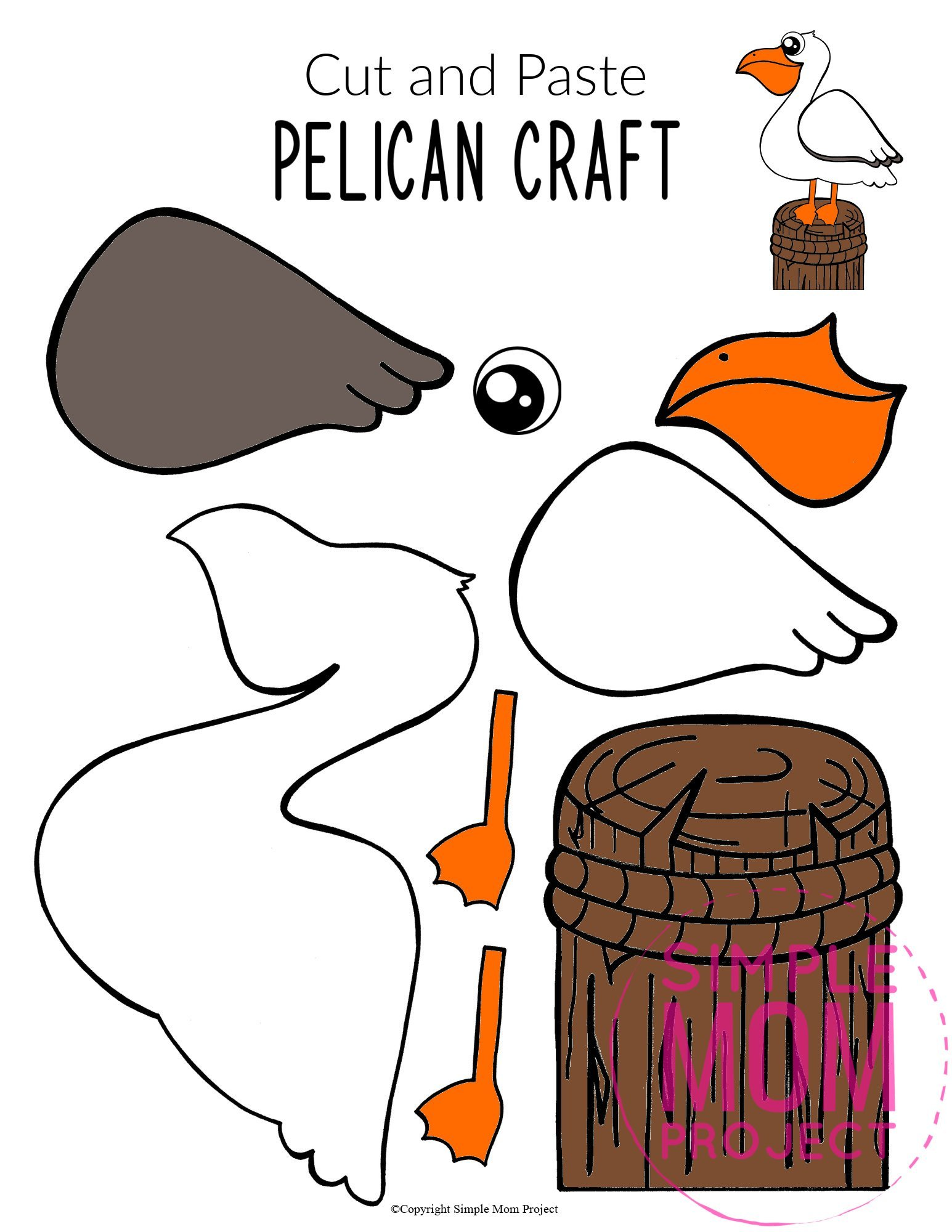 Free Printable Ocean Animal Pelican Crafts for kids of all ages, including preschoolers and toddlers