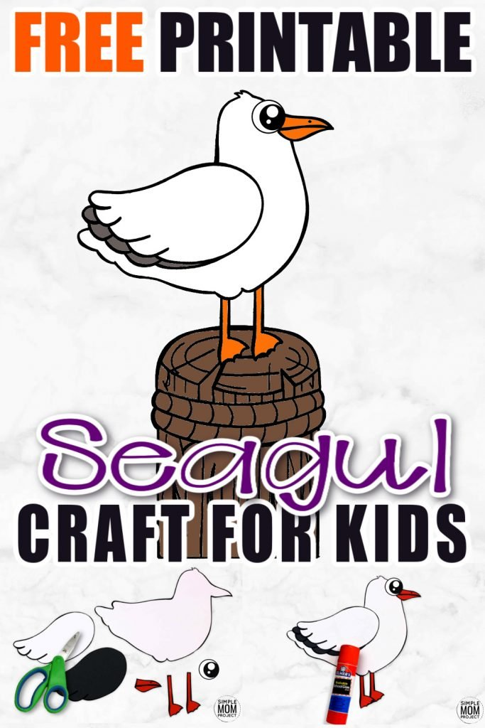 Click now to print and use the simple seagull template to make an easy seagull craft. He is the perfect summer project when teaching about birds or ocean animal friends. So grab your printable seagull and a few supplies and get started now! #SeagullCrafts #OceanAnimals #OceanAnimalCrafts