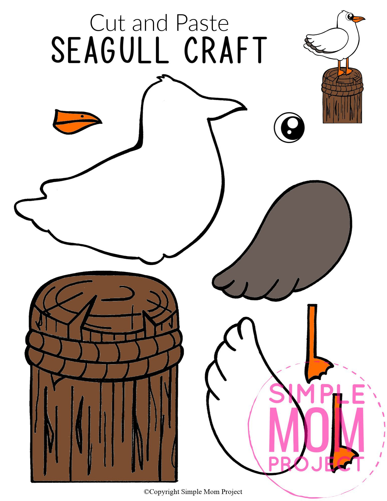 Free Printable Ocean Animal Seagull Crafts for kids of all ages, including preschoolers and toddlers