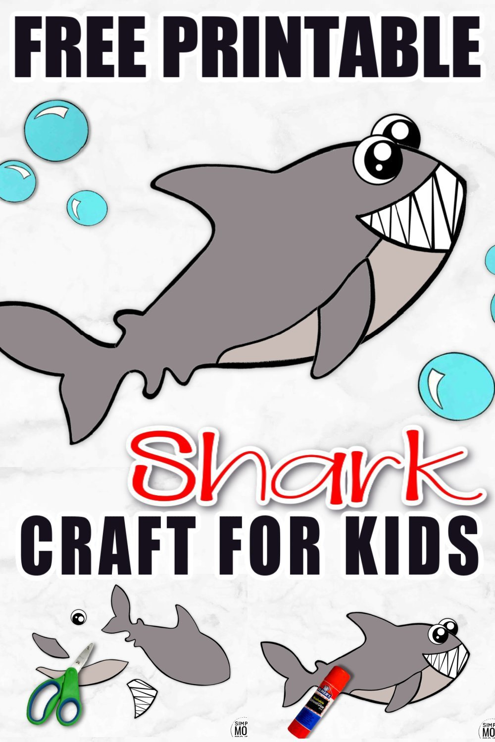 Looking for your next ocean animal craft? Click and get the adorable baby shark template! He is perfect for kids of all ages, especially preschoolers and toddlers. Use him during shark week too! You won't need any paper plate for this summer craft! Just try not to get the doodoo baby shark song stuck in your head! #sharkcraft #sharkweek #oceananimals #oceananimalcrafts #SimpleMomProject