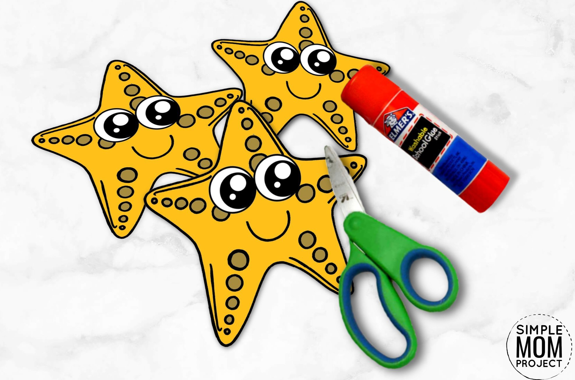 Free Printable Ocean Animal Starfish Crafts for kids of all ages, including preschoolers and toddlers starfish template