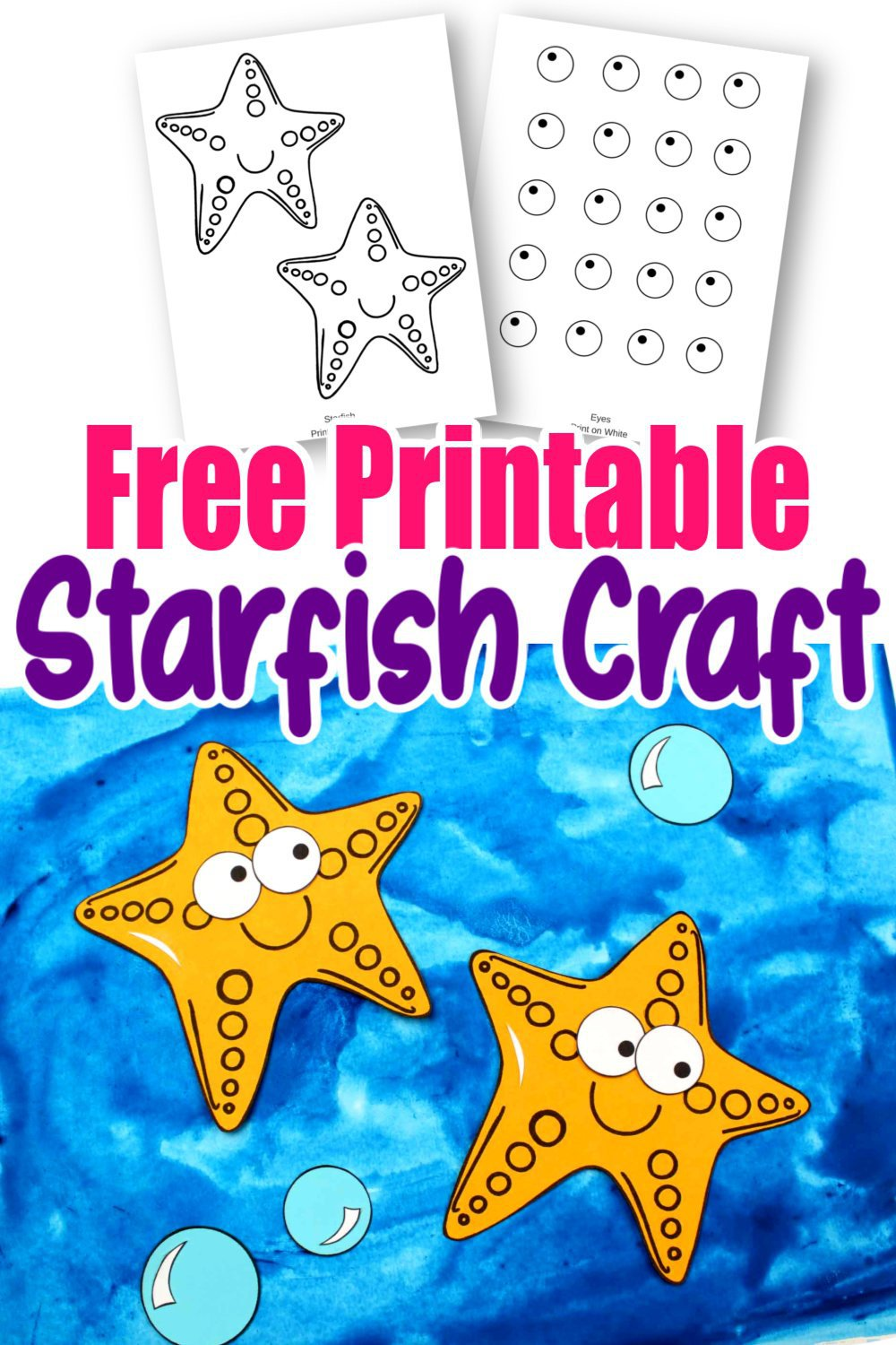 Dive under the sea to find your next sea creature ocean craft! This adorable starfish is so easy to make! Simply print the star fish template and get your arts and crafts on! He is perfect for kids of all ages, especially preschoolers and toddlers! #starfish #starfishcrafts #oceananimals #oceananimalcrafts