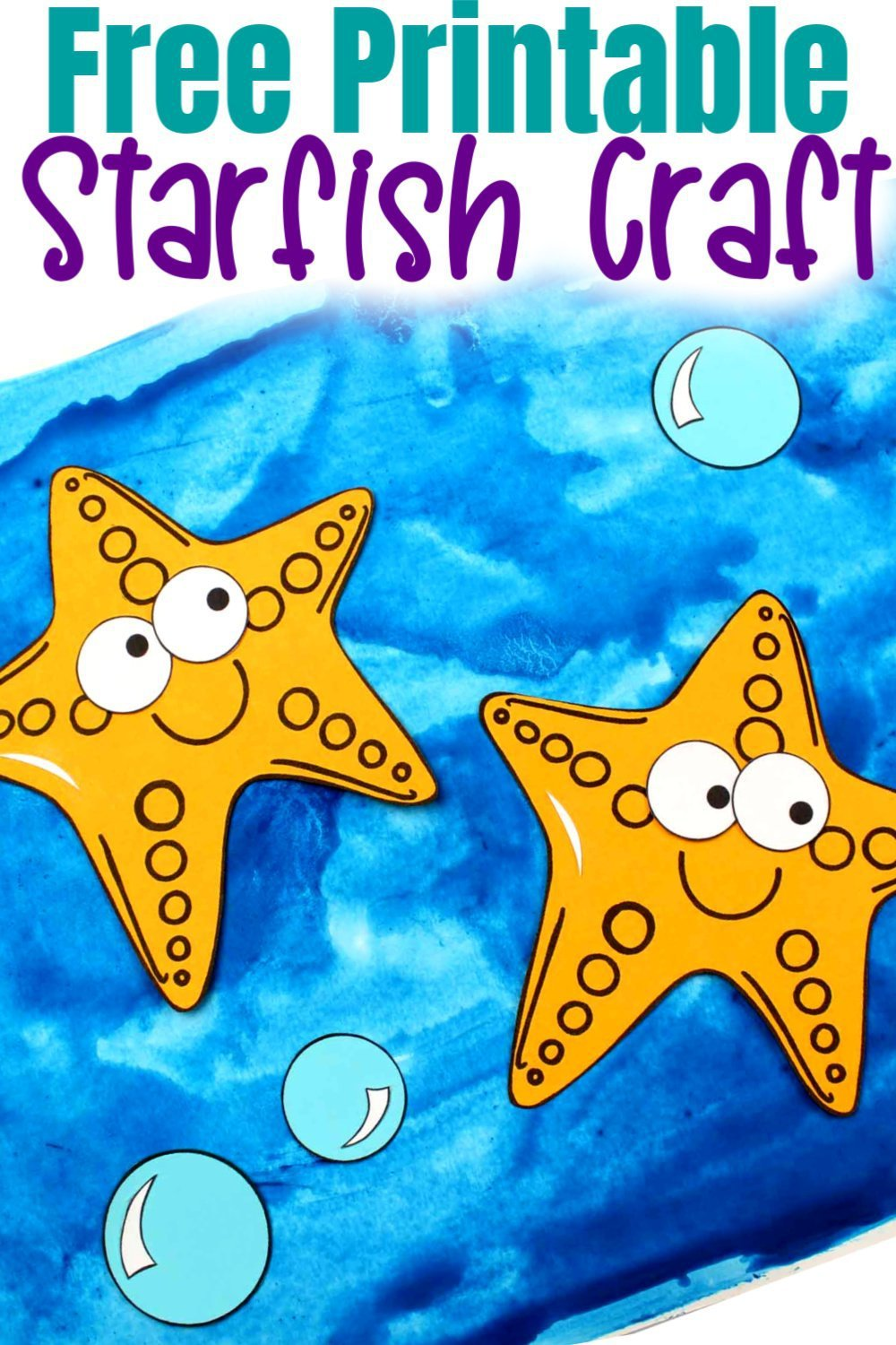 Free Printable Ocean Animal Starfish Crafts for kids of all ages, including preschoolers and toddlers