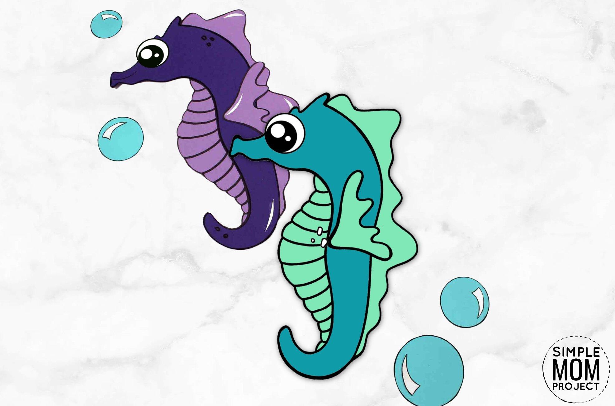Free Printable Seahorse Ocean Animal Craft for Kids, preschoolers and toddlers