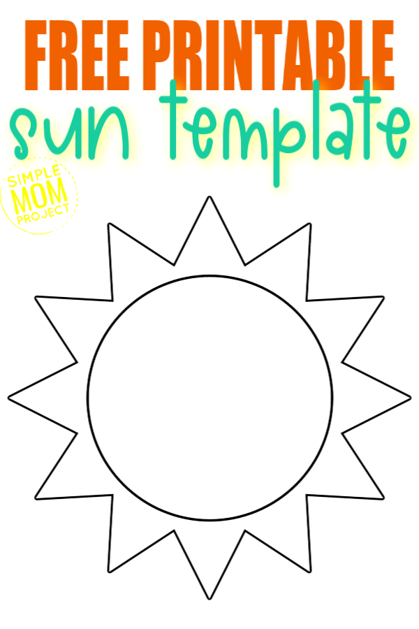 Use the free printable sun template as a preschool summer coloring page in your weather theme or as a template for your sun catcher stained glass craft or even a simple pumpkin carving stencil #sun #suntemplate #suncoloringpage