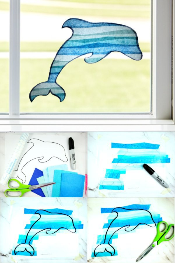 Easy Diy Suncatcher Dolphin craft for Kids, preschoolers, toddlers and adults