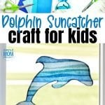 Print your free dolphin template and give your windows a fun, stained glass effect with this easy, diy spring and summer dolphin suncatcher craft. This dolphin craft is great for kids of all ages including preschoolers, toddlers, kindergartners and even adults! #suncatcher #suncatchercrafts #dolphincrafts #dolpinsuncatchercraft