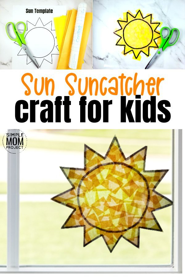 Print your free sun template and give your windows a fun, stained glass effect with this easy, diy spring and summer sun suncatcher craft. This sunshine craft is great for kids of all ages including preschoolers, toddlers, kindergartners and even adults! #suncatcher #suncatchercrafts #suncrafts #sunsuncatchercraft