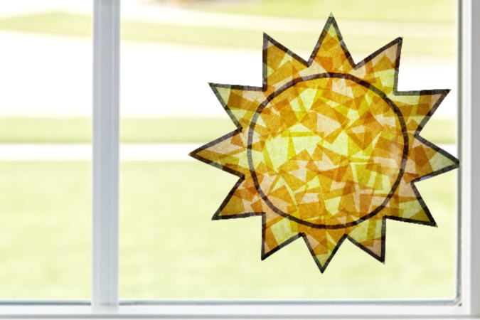 Easy Diy Suncatcher Sun craft for Kids, preschoolers, toddlers and adults