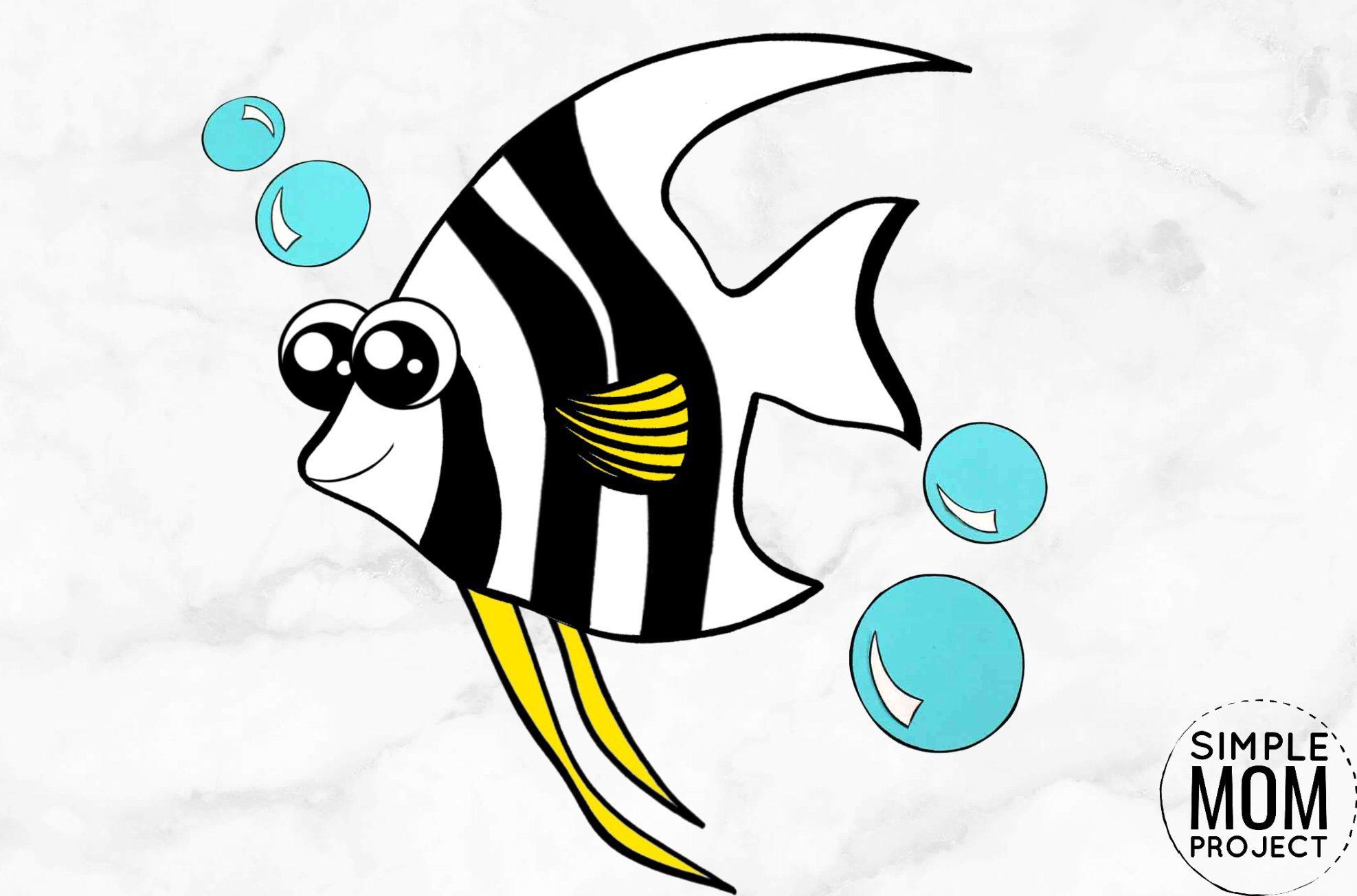 Free Printable Angel Fish Ocean Animal Craft for Kids, preschoolers and toddlers