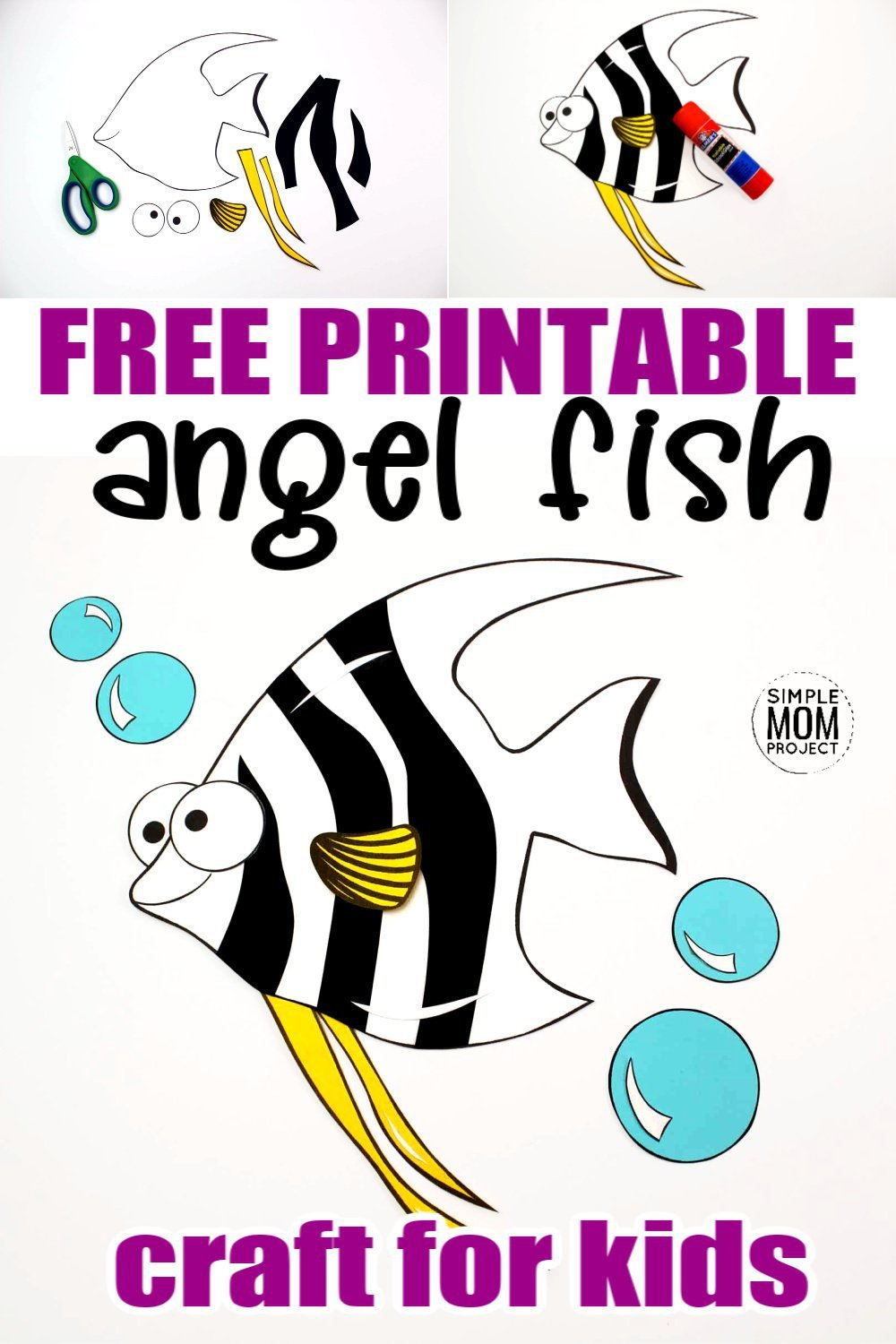 Planning an ocean theme lesson ? What about a trip to the aquarium? You'll want to snag up this free printable angelfish craft! He is especially a favorite of the preschooler and kindergarten classes although all kids will love making their own angelfish while they work within their ocean theme! #angelfish #angelfishcraft #oceananimals #oceananimalcrafts #SimpleMomProject