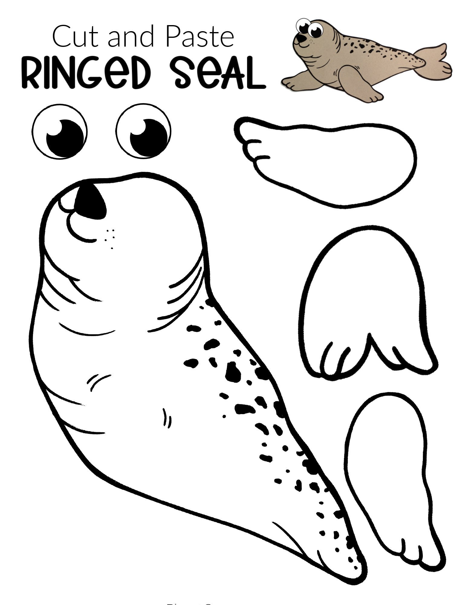 Free Printable Arctic Animal Ringed Seal Craft for Kids Preschoolers and Toddlers